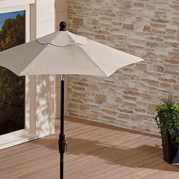 6' Round Sunbrella ® Stone Patio Umbrella with Tilt Black Frame