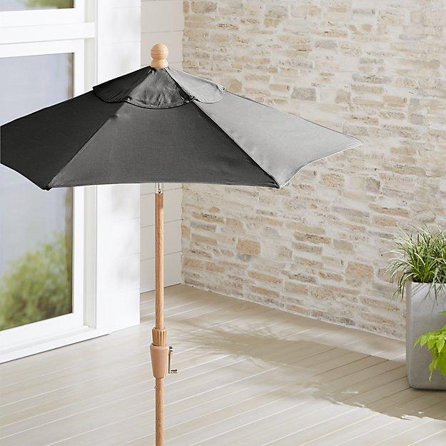 6 Round Sunbrella Charcoal Patio Umbrella With Tilt Faux Wood Frame