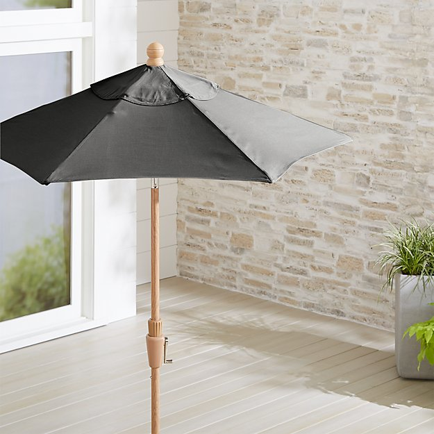 6' Round Sunbrella ® Charcoal Patio Umbrella with Tilt Faux Wood Frame - Image 1 of 3