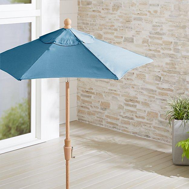 6' Round Sunbrella ® Sapphire Patio Umbrella with Tilt Faux Wood Frame - Image 1 of 3