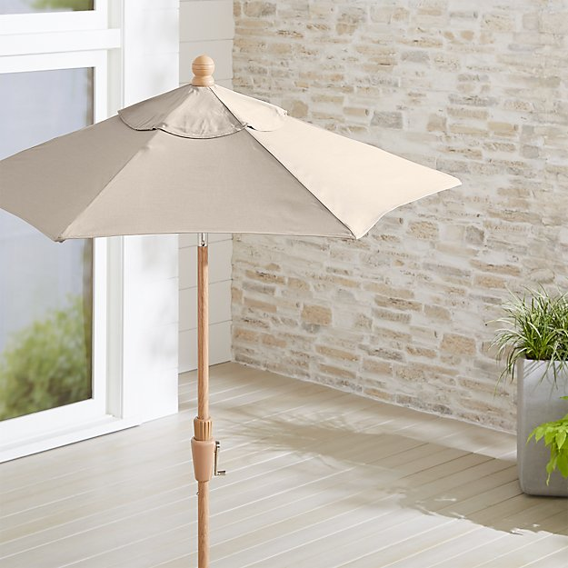 6' Round Sunbrella ® Stone Patio Umbrella with Tilt Faux Wood Frame - Image 1 of 3