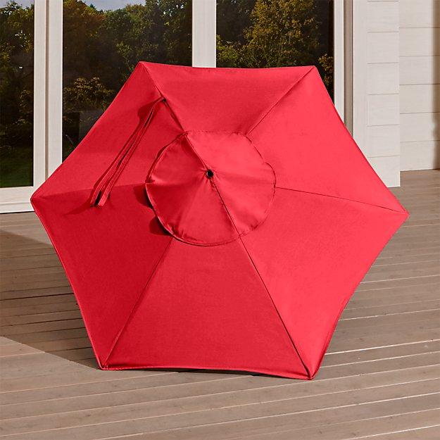 6' Round Sunbrella ® Ribbon Red Umbrella Canopy
