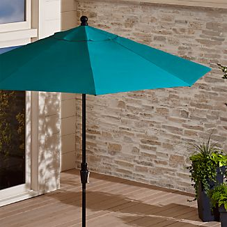 9' Round Sunbrella ® Bold Turquoise Patio Umbrella with Tilt Black Frame