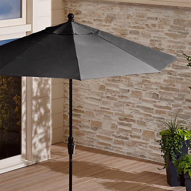 9' Round Sunbrella ® Charcoal Patio Umbrella with Tilt Black Frame - Image 1 of 10