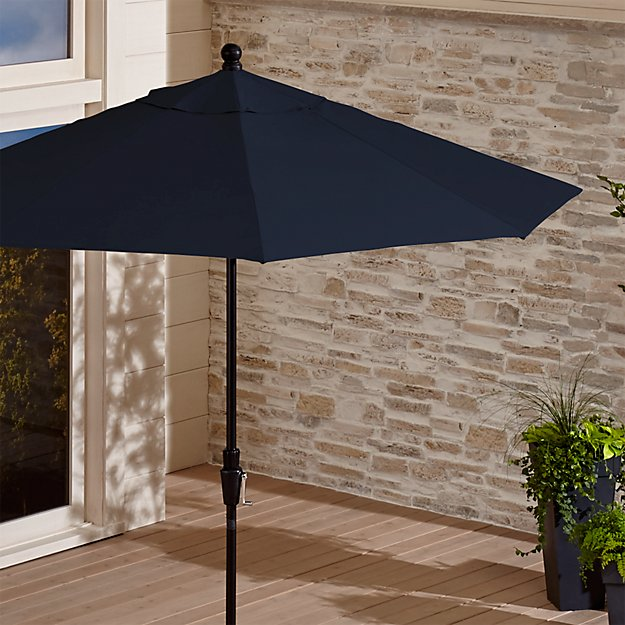 9' Round Sunbrella ® Dark Navy Patio Umbrella with Tilt Black Frame