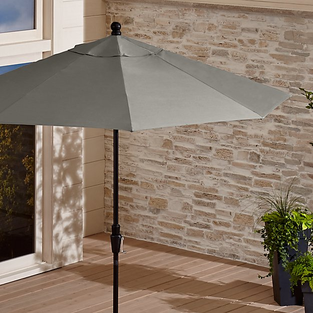 9' Round Sunbrella ® Graphite Patio Umbrella with Tilt Black Frame - Image 1 of 5