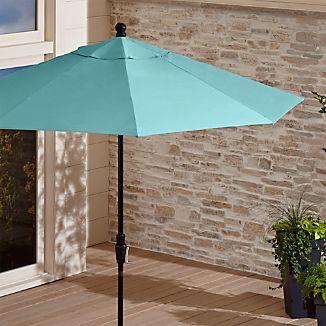9' Round Sunbrella ® Mineral Blue Patio Umbrella with Tilt Black Frame