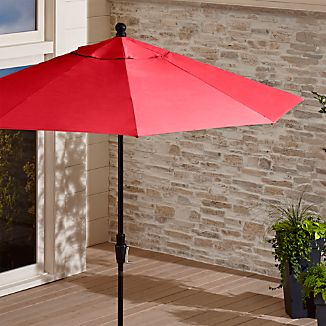 9' Round Sunbrella ® Ribbon Red Patio Umbrella with Tilt Black Frame