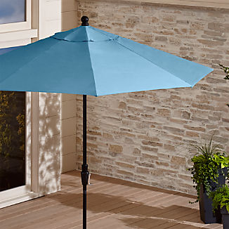 9' Round Sunbrella ® Sapphire Patio Umbrella with Black Frame