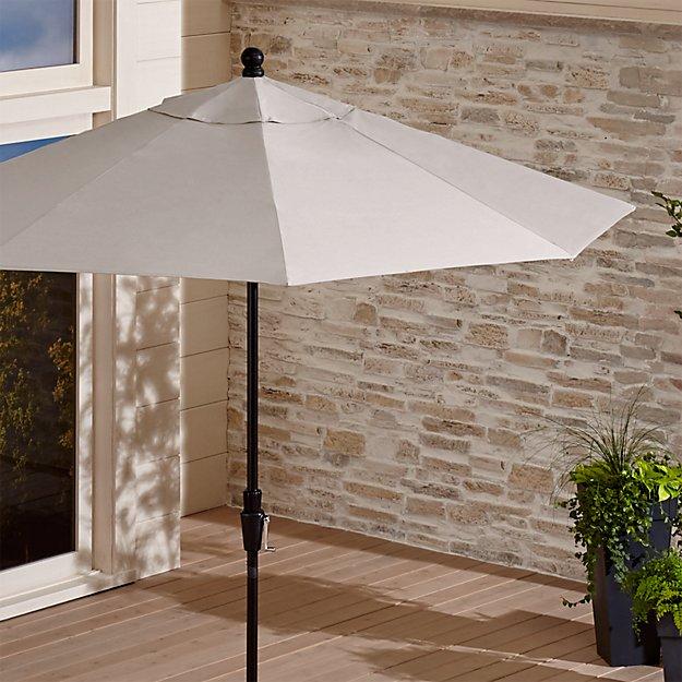 9' Round Sunbrella ® Silver Patio Umbrella with Tilt Black Frame