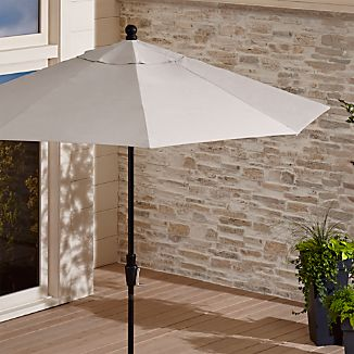 9' Round Sunbrella ® Silver Patio Umbrella with Tilt Black Frame