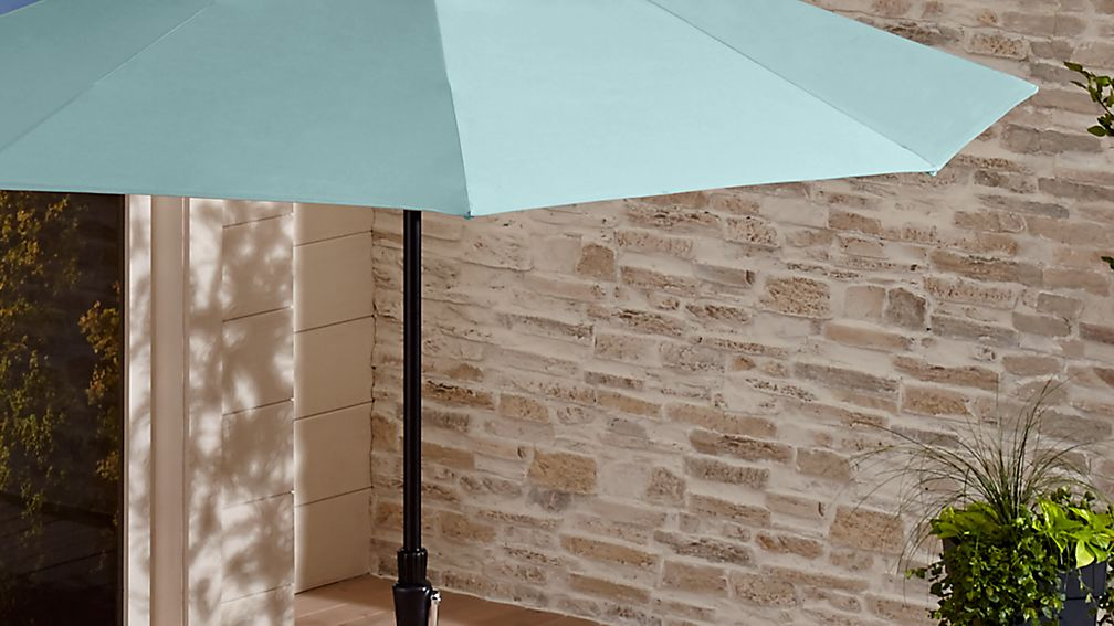9' Round Sunbrella ® Soft Mineral Patio Umbrella with Tilt Black Frame - Image 1 of 5