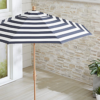 9' Round Sunbrella ® Cabana Stripe Navy Patio Umbrella with Tilt Faux Wood Frame