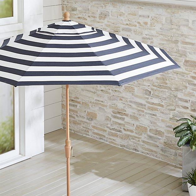 9' Round Sunbrella ® Cabana Stripe Navy Patio Umbrella with Tilt Faux Wood Frame - Image 1 of 3