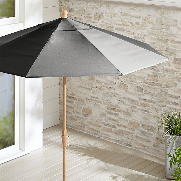 9' Round Sunbrella ® Charcoal Patio Umbrella with Tilt Faux Wood Frame - Image 1 of 3