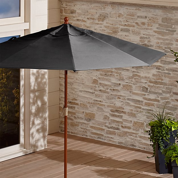 9' Round Sunbrella ® Charcoal Patio Umbrella with FSC Eucalyptus Frame