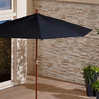 9u0027 Round Sunbrella ® Dark Navy Patio Umbrella With FSC Eucalyptus Frame
