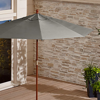 9' Round Sunbrella ® Graphite Patio Umbrella with FSC Eucalyptus Frame