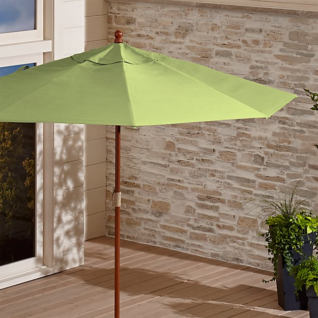 9' Round Sunbrella ® Kiwi Outdoor Umbrella with FSC Eucalyptus Frame
