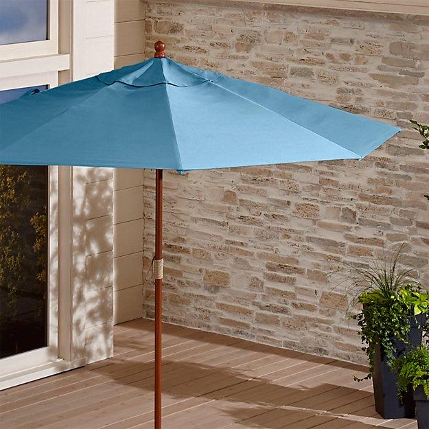 9' Round Sunbrella ® Sapphire Patio Umbrella with FSC Eucalyptus Frame - Image 1 of 3
