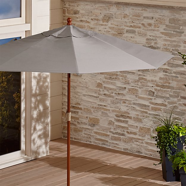 9' Round Sunbrella ® Silver Patio Umbrella with FSC Eucalyptus Frame