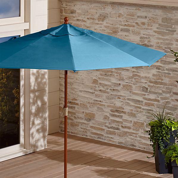 9' Round Sunbrella ® Turkish Tile Patio Umbrella with FSC Eucalyptus Frame