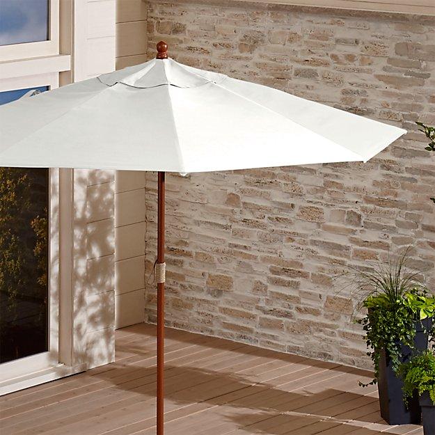9' Round Sunbrella ® White Sand Patio Umbrella with FSC Eucalyptus Frame - Image 1 of 8