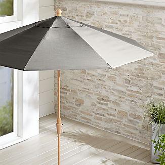 9' Round Sunbrella ® Graphite Patio Umbrella with Tilt Faux Wood Frame