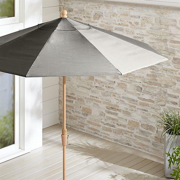 9' Round Sunbrella ® Graphite Patio Umbrella with Tilt Faux Wood Frame - Image 1 of 3