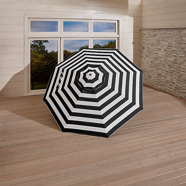 9' Round Sunbrella ® Black Cabana Stripe Umbrella Canopy - Image 1 of 2