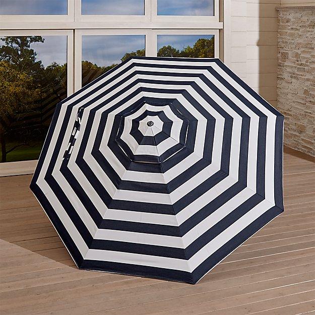 9' Round Sunbrella ® Cabana Stripe Navy Umbrella Canopy - Image 1 of 4