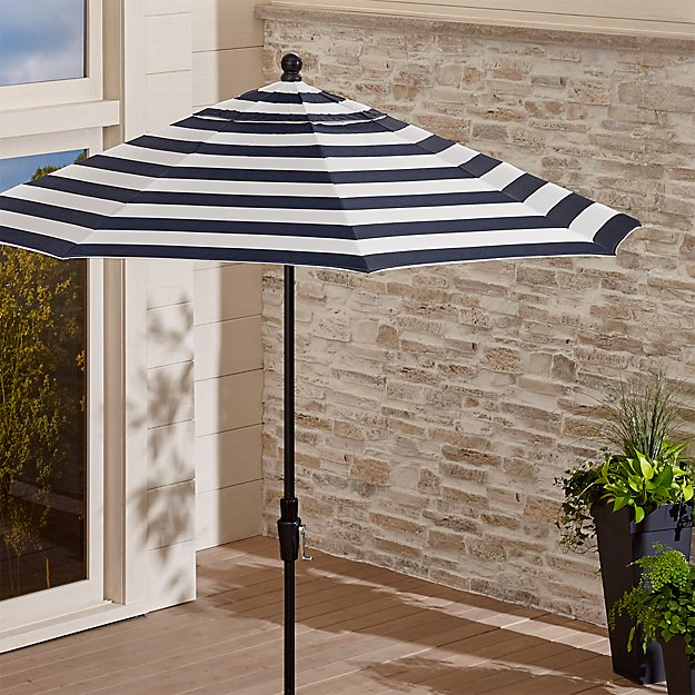 9' Round Sunbrella ® Cabana Stripe Navy Patio Umbrella with Tilt Black Frame
