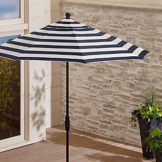 9u0027 Round Sunbrella ® Cabana Stripe Navy Patio Umbrella With Tilt Black Frame