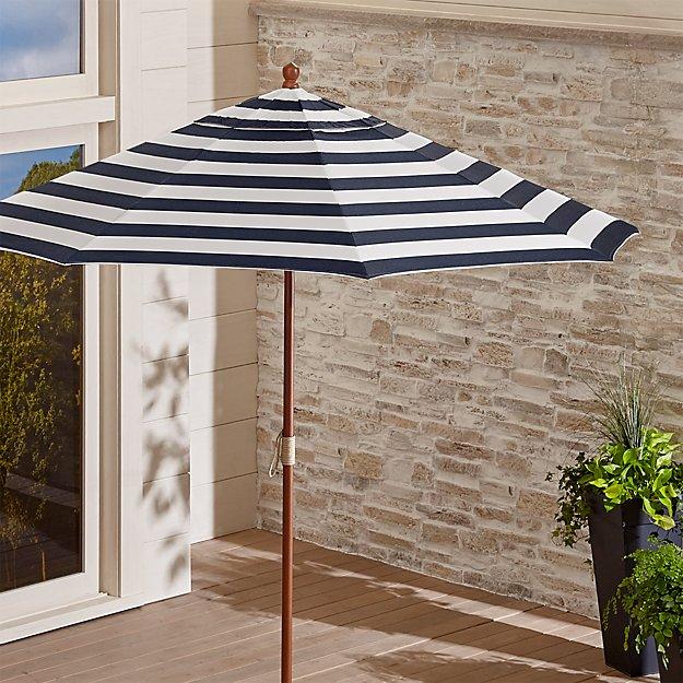 9' Round Sunbrella ® Cabana Stripe Navy Patio Umbrella with FSC Eucalyptus Frame - Image 1 of 8