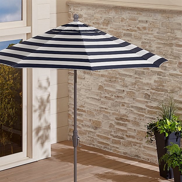 9' Round Sunbrella ® Cabana Stripe Navy Patio Umbrella with Tilt Silver Frame