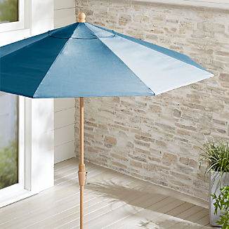 9' Round Sunbrella ® Sapphire Patio Umbrella with Tilt Faux Wood Frame