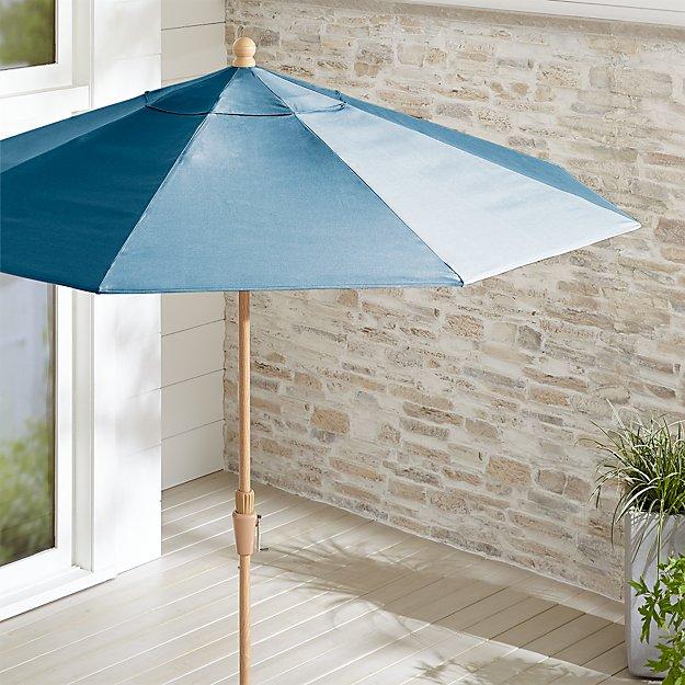 9' Round Sunbrella ® Sapphire Patio Umbrella with Tilt Faux Wood Frame - Image 1 of 3