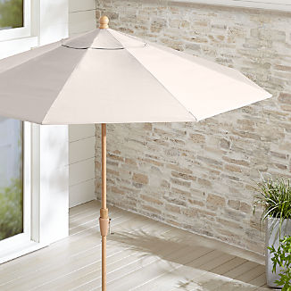 9' Round Sunbrella ® Silver Patio Umbrella with Tilt Faux Wood Frame