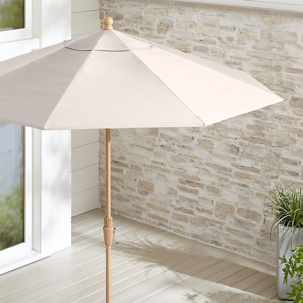 9' Round Sunbrella ® Silver Patio Umbrella with Tilt Faux Wood Frame - Image 1 of 3