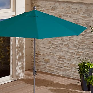 9' Round Sunbrella ® Bold Turquoise Patio Umbrella with Tilt Silver Frame