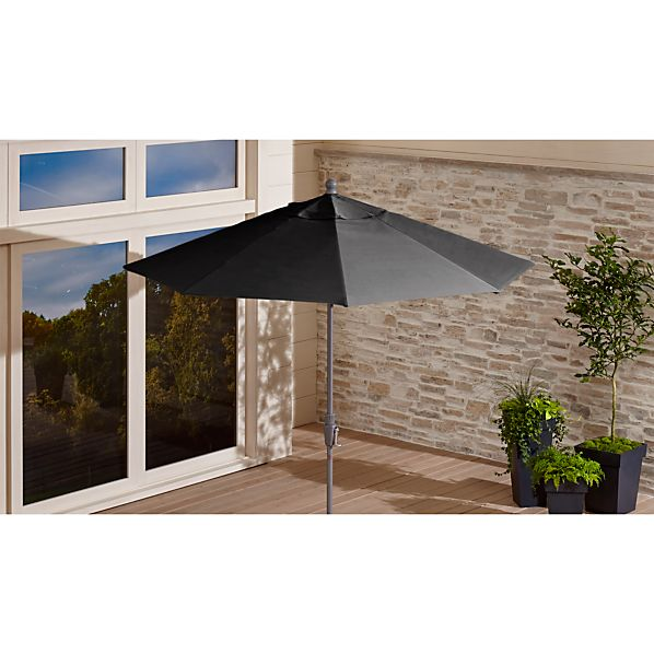 9' Round Sunbrella ® Charcoal Patio Umbrella with Tilt Silver Frame