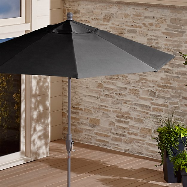 9' Round Sunbrella ® Charcoal Patio Umbrella with Tilt Silver Frame - Image 1 of 7