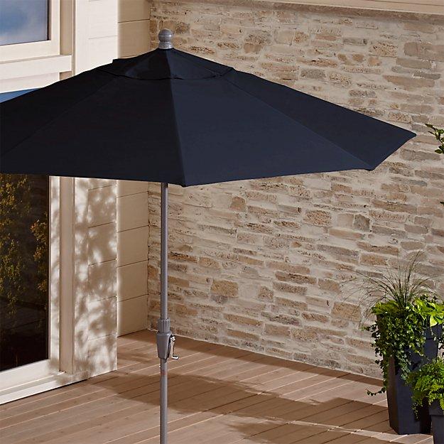 9' Round Sunbrella ® Dark Navy Patio Umbrella with Tilt Silver Frame