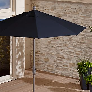 9' Round Sunbrella ® Dark Navy Patio Umbrella with Tilt Silver Frame