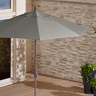9' Round Sunbrella ® Graphite Patio Umbrella with Tilt Silver Frame