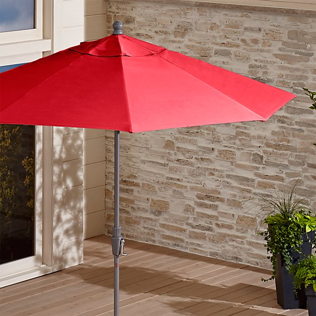 9' Round Sunbrella ® Ribbon Red Patio Umbrella with Tilt Silver Frame