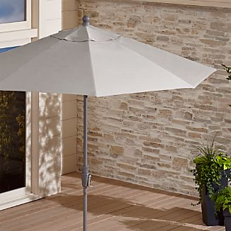 9' Round Sunbrella ® Silver Patio Umbrella with Tilt Silver Frame