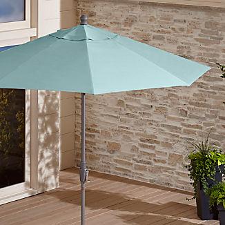 9' Round Sunbrella ® Soft Mineral Patio Umbrella with Tilt Silver Frame