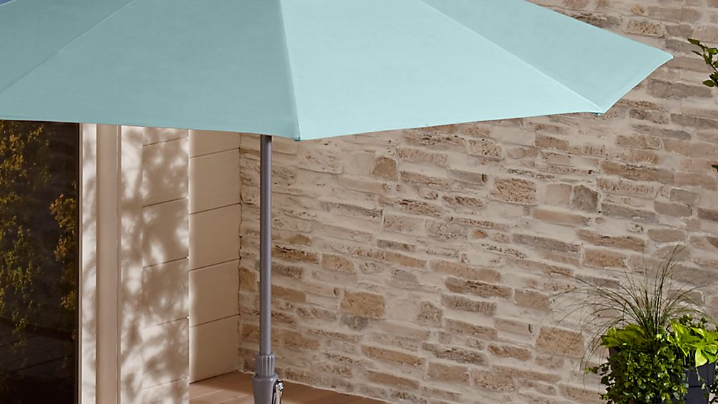 9' Round Sunbrella ® Soft Mineral Patio Umbrella with Tilt Silver Frame - Image 1 of 6