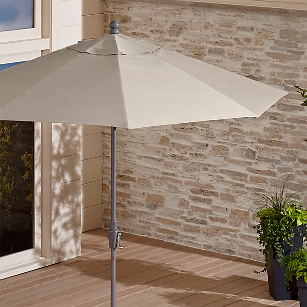 9' Round Sunbrella ® Stone Patio Umbrella with Tilt Silver Frame - Image 1 of 7